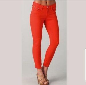 RAG & BONE Red Zipper Capri Pants